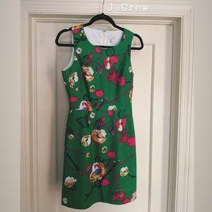 J CREW // Green Floral Dress